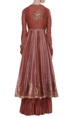 Chanderi cut dana embroidered kurta set with pleated skirt