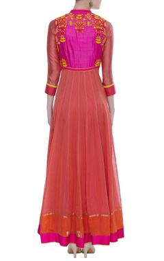 Chanderi kurta set with silk yoke and cut dana embroidery