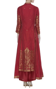 Chanderi kurta set with jaal detailing