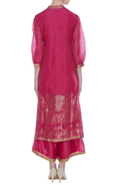 Chanderi bird jaal work kurta set with pallazo pants