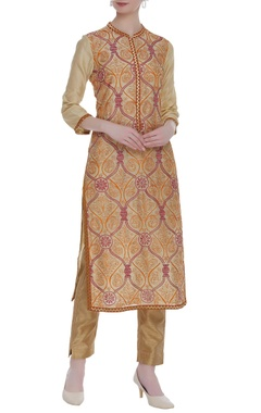 RAR Studio Beige embroidered knee-length kurta