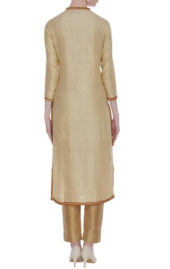 Beige embroidered knee-length kurta