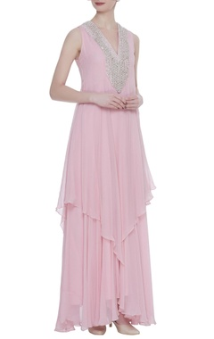 Rriso Sequin & bead embroidered layered gown