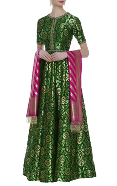 Banarasi anarkali set with contrast striped dupatta