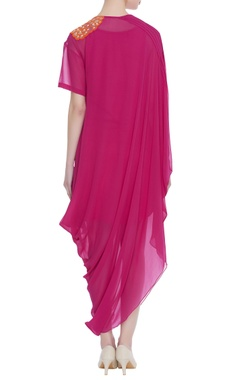 Hand embroidered asymmetric maxi dress