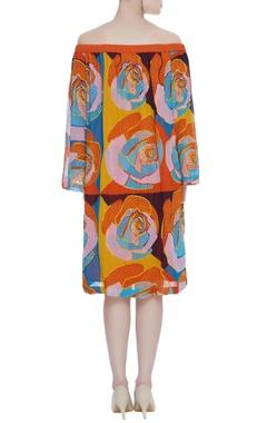 Off shoulder hand embroidered midi dress