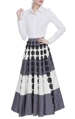 Urvashi Joneja Floral embroidered skirt