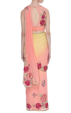 Peach georgette pre-draped sari with rose work blouse