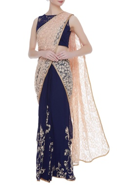 Rajat & Shraddha Navy blue georgtte pre-draped sari with lace blouse