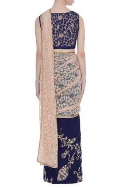 Navy blue georgtte pre-draped sari with lace blouse