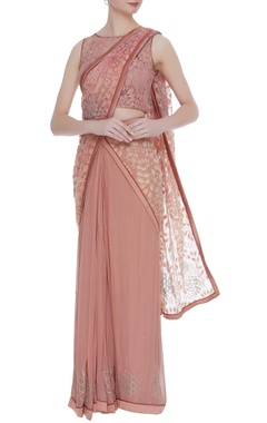 Rajat & Shraddha Nude georgette pre-draped sari with lace blouse