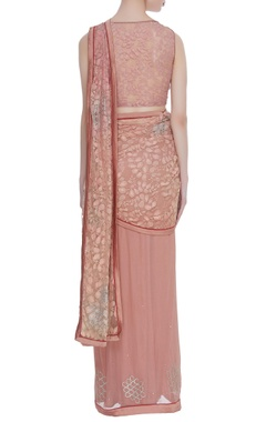 Nude georgette pre-draped sari with lace blouse