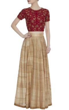 Shruti Sancheti Embroidered red top and lehenga skirt set