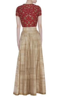 Embroidered red top and lehenga skirt set