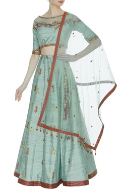 Raw silk floral hand embroidered bead lehenga set