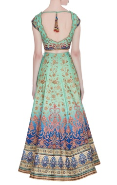 Raw silk hand embroidered zari & aari lehenga set