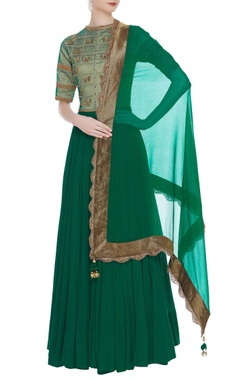 Jaya Rathore Green anarkali & dupatta with gold embroidery