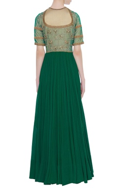 Green anarkali & dupatta with gold embroidery