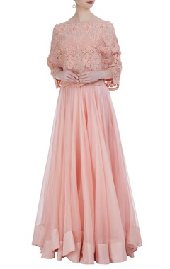 Anamika Khanna Organza lehenga with tube blouse & off-shoulder pearl embroidered cape