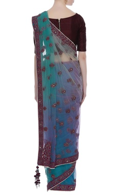 Net thread and sequin embroidered sari