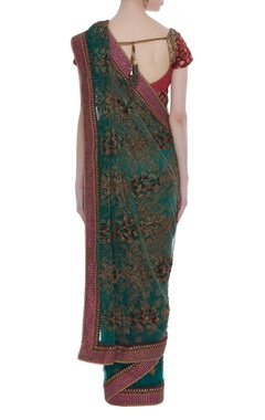 Net thread embroidered and floral motif sari