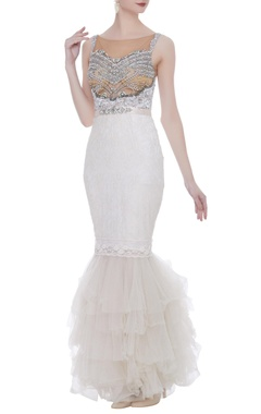 Net pearl & 3D sequin embroidered gown