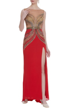 Hand embroidered crepe gown