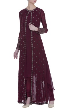 Georgette jacket and dress in oxblood red tone