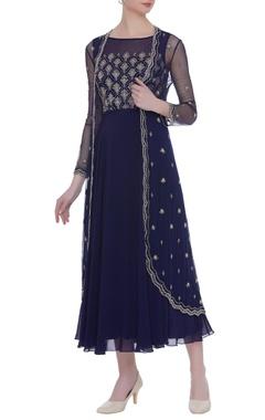 Zoraya Cutdana embroidered navy blue dress