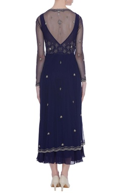 Cutdana embroidered navy blue dress