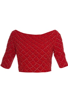 Red organza & satin cutdana blouse