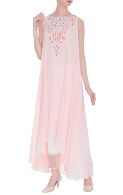 Prisha Pink pure georgette sequin tunic with organza pants