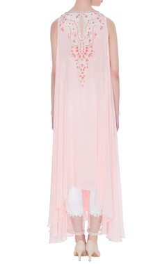 Pink pure georgette sequin tunic with organza pants