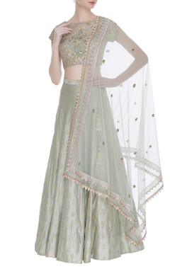 Chanderi lehenga with embellished blouse & dupatta