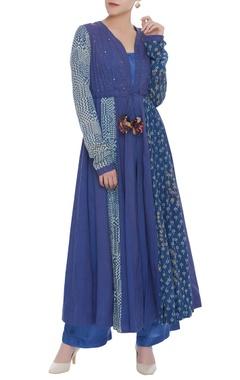 Flared mukaish embroidered kurta with pants
