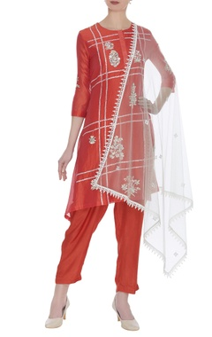 Hand embroidered asymmetric kurta set