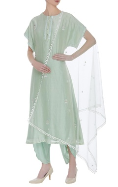 Hand embroidered asymmetric kurta set