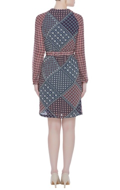 Multi coloured geometric floral printed dress