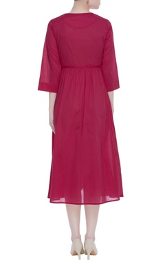 Cotton pink gathered dress with machine embroidery