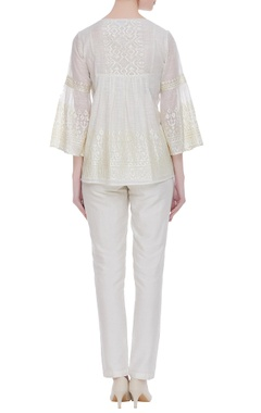 Flared embroidered short tunic