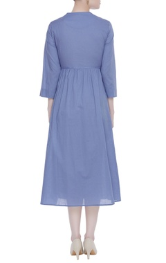 Cotton blue gathered dress with machine embroidery