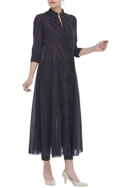 Flared kurta with embroidered yoke and stretch pants