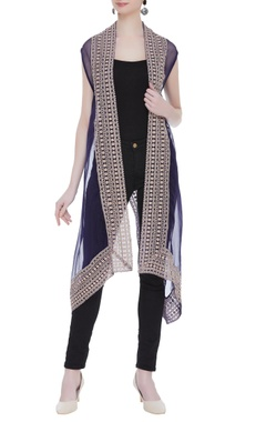 Kavita Bhartia Sheer organza cape with embroidered borders