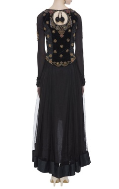 Velvet high low anarkali with churidar