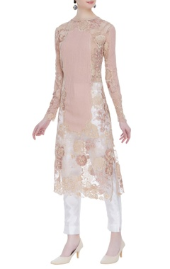 Floral embroidered net panel kurta