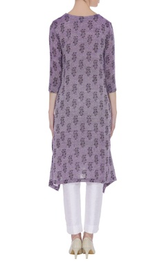 Block print tunic with side button placket