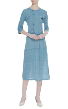 Midi dress with embroidered bird motif