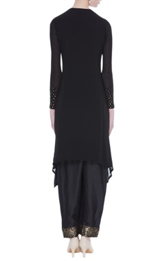 Thread embroidered black kurta with pants