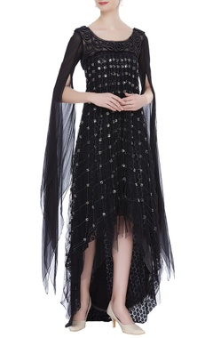 Net layered embroidered dress with cape sleeves