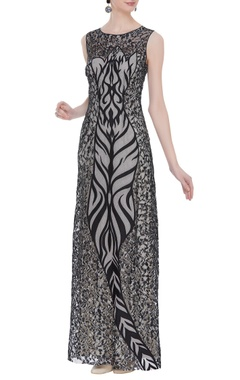 Laser work sleeveless maxi dress